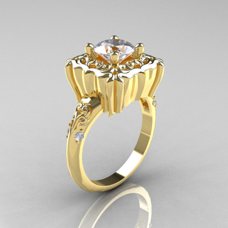 Modern Antique 10K Yellow Gold 1.0 Carat White Sapphire Diamond Engagement Ring AR116-10KYGDWS-1