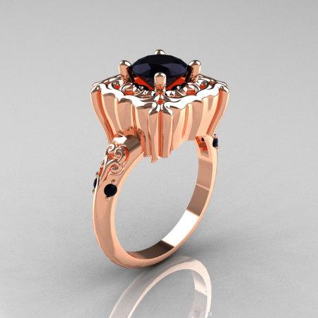 Modern Antique 14K Rose Gold 1.0 Carat Black Diamond Engagement Ring AR116-14KRGBDD-1
