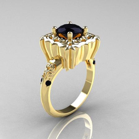 Modern Antique 14K Yellow Gold 1.0 Carat Black Diamond Engagement Ring AR116-14KYGDBD-1