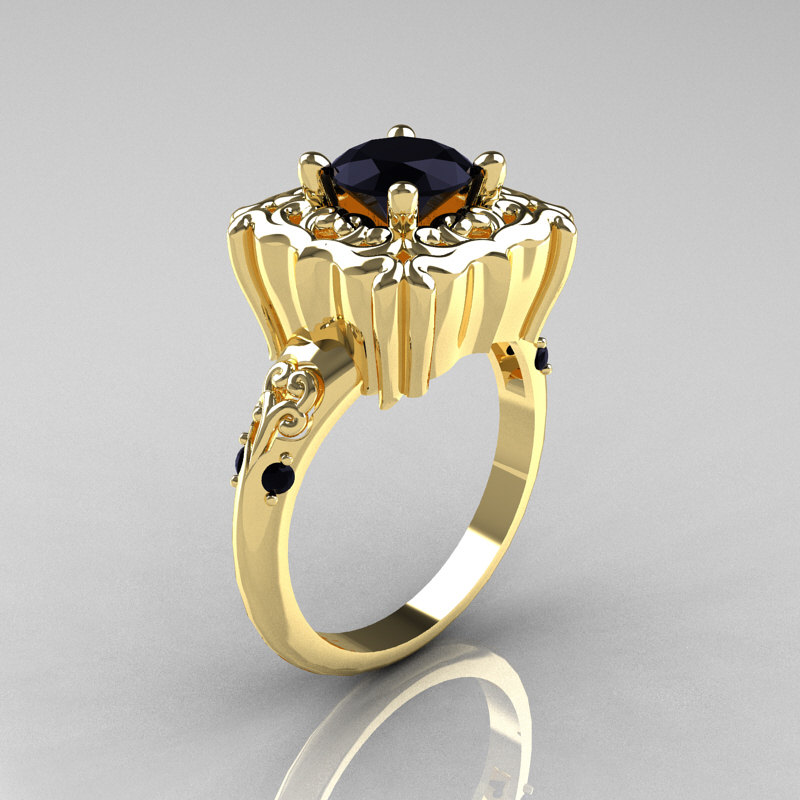 Modern Antique 14K Yellow Gold 1 0 Carat Black Diamond Engagement Ring AR116
