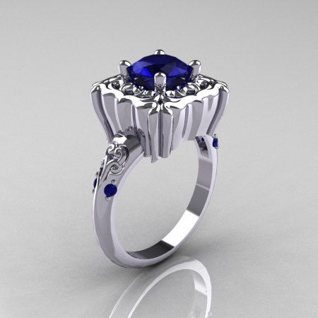 Modern Antique 10K White Gold 1.0 Carat Blue Sapphire Engagement Ring AR116-10KWGBLS-1