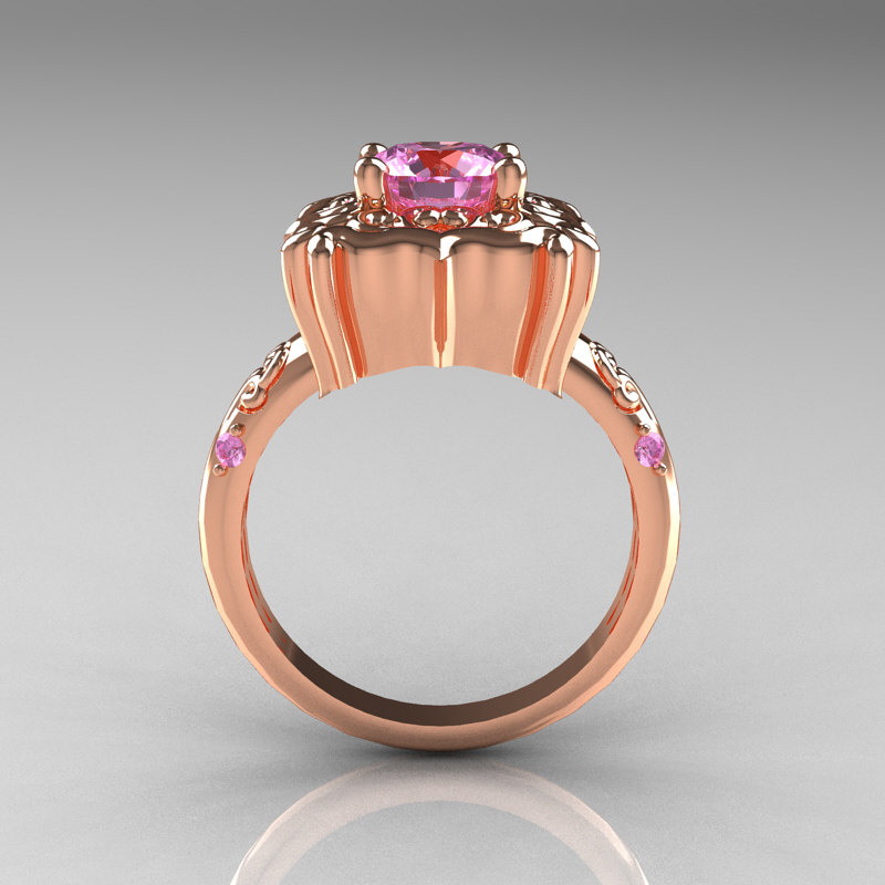 Modern Antique 14K Rose Gold 1 0 Carat Light Pink Sapphire Engagement Ring AR