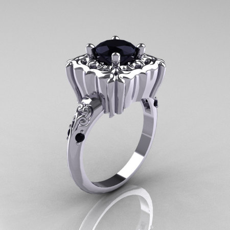 Modern Antique 10K White Gold 1.0 Carat Black Diamond Engagement Ring AR116-10KWGBDD-1