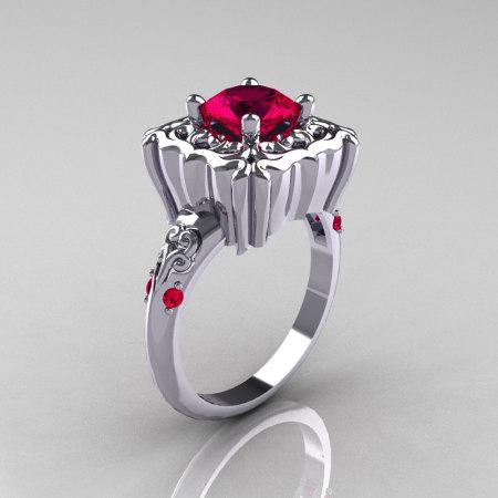 Modern Antique 14K White Gold 1.0 Carat Rubies Engagement Ring AR116-14KWGR-1