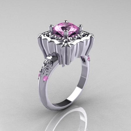 Modern Antique 950 Platinum 1.0 Carat Light Pink Topaz Engagement Ring AR116-PLATLPT-1