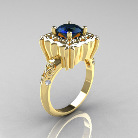 Modern Antique 18K Yellow Gold 1.0 Carat London Blue Sapphire Diamond Engagement Ring AR116-18KRGDLBS-1