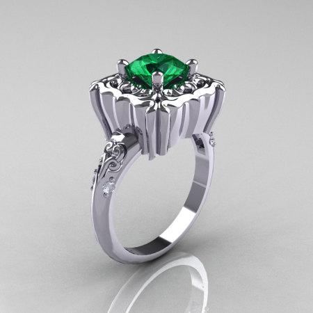 Modern Antique 14K White Gold 1.0 Carat Emerald Diamond Engagement Ring AR116-14KWGDEM-1