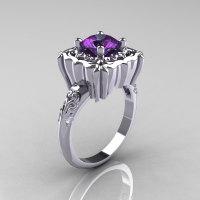 Modern Antique 950 Platinum 2.0 Carat Alexandrite Diamond Engagement Ring AR116-PLAT2AL-1