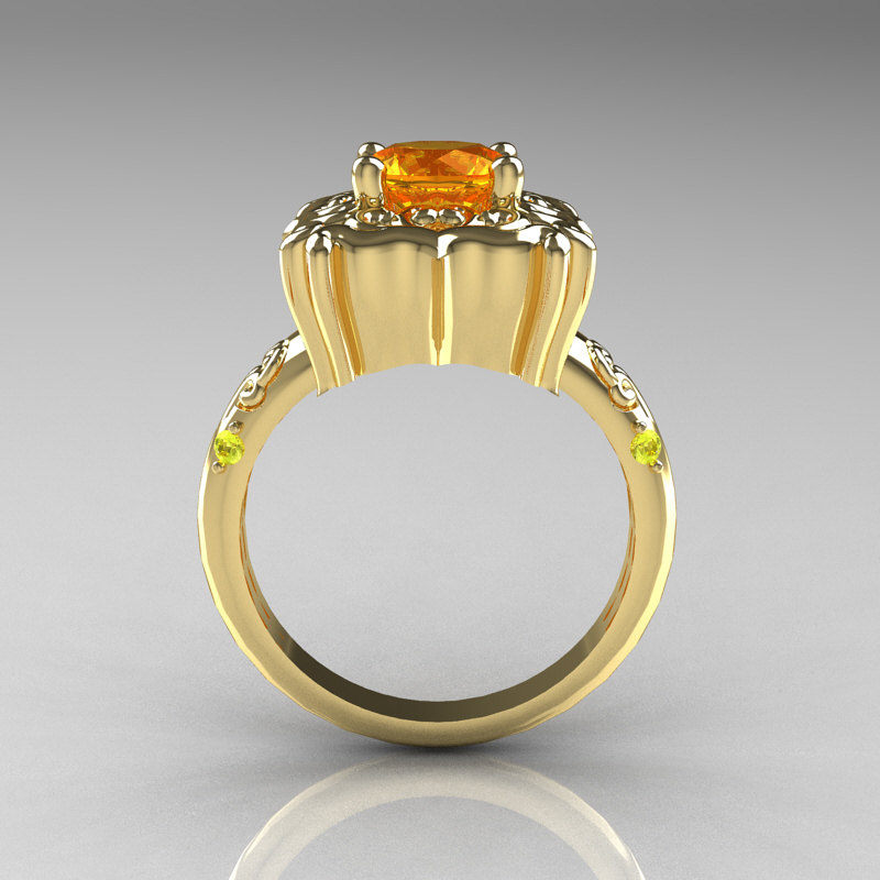 Modern Antique 10k Yellow Gold 1 0 Carat Yellow Citrine
