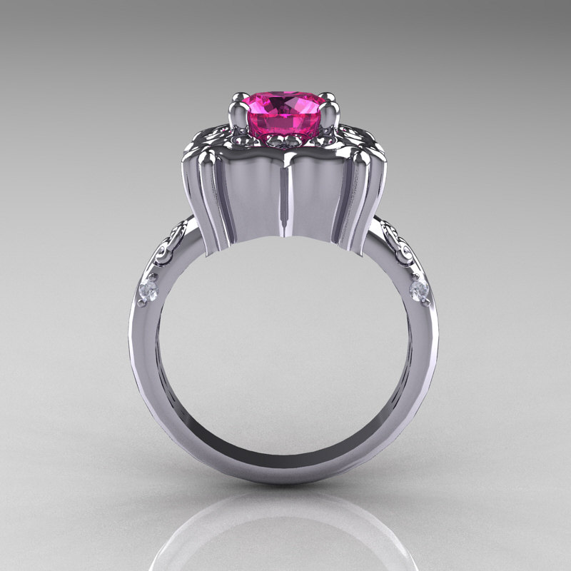 modern antique 10k white gold 1 0 carat pink sapphire