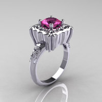 Modern Antique 10K White Gold 1.0 Carat Pink Sapphire Diamond Engagement Ring AR116-10KWGPS-1