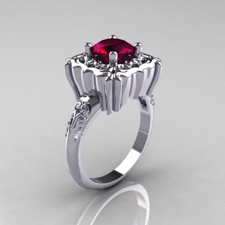 Modern Antique 18K White Gold 1.0 Carat Deep Red Garnet Diamond Engagement Ring AR116-18KWGDRG-1