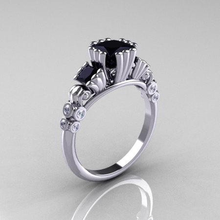 Classic 14K White Gold 1.25 CT Princess Black Diamond Three Stone Engagement Ring R171-14KWGDBD-1
