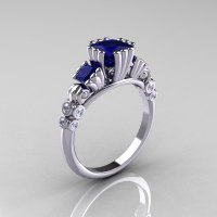 Classic 10K White Gold 1.25 CT Princess Blue Sapphire Diamond Three Stone Engagement Ring R171-10KWGDBS-1