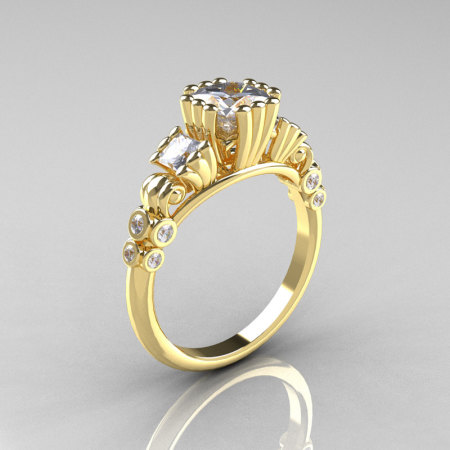 Classic 10K Yellow Gold 1.25 CT Princess Cubic Zirconia Diamond Three Stone Engagement Ring R171-10KYGDCZ-1