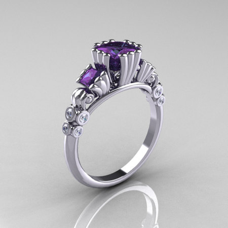 Classic 950 Platinum 1.25 CT Princess Alexandrite Diamond Three Stone Engagement Ring R171-PLATDAL-1