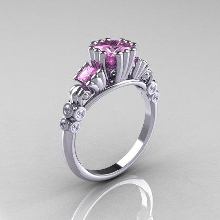 Classic 18K White Gold 1.25 CT Princess Light Pink Sapphire Diamond Three Stone Engagement Ring R171-18KWGDLPS-1