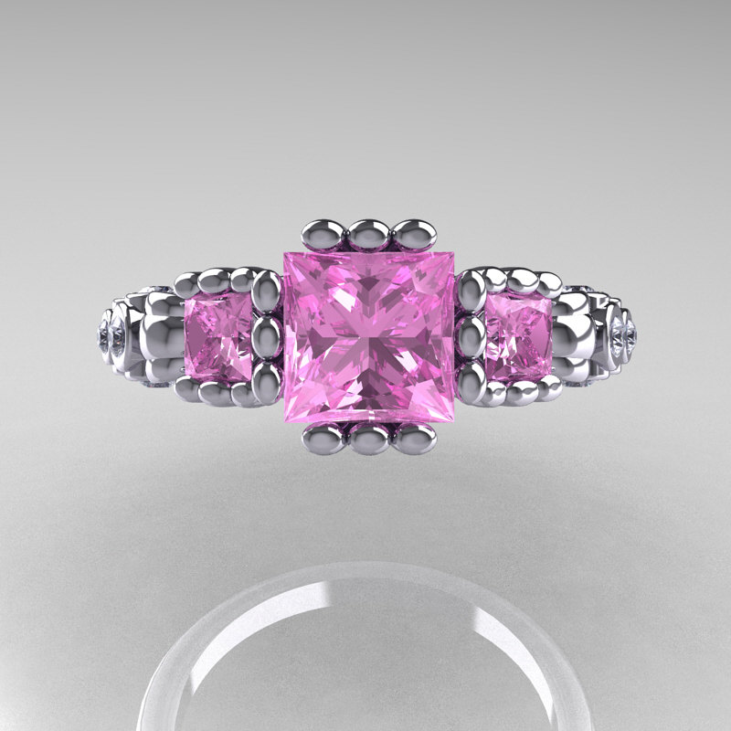 Classic 18K White Gold 1 25 CT Princess Light Pink Sapphire Diamond Three Sto