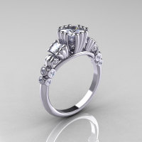 Classic 10K White Gold 1.25 CT Princess White Sapphire Diamond Three Stone Engagement Ring R171-10KWGDWS-1
