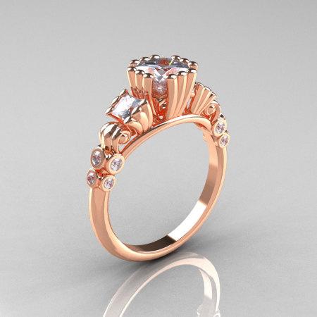 Classic 14K Rose Gold 1.25 CT Princess Cubic Zirconia Diamond Three Stone Engagement Ring R171-14KRGDCZ-1