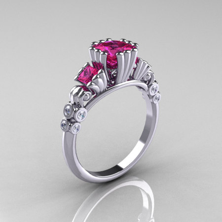 Classic 10K White Gold 1.25 CT Princess Pink Sapphire Diamond Three Stone Engagement Ring R171-10KWGDPS-1