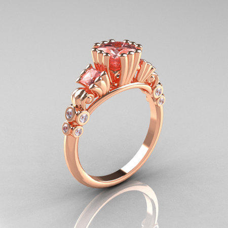Classic 10K Rose Gold 1.25 CT Princess Morganite Diamond Three Stone Engagement Ring R171-10KRGDMO-1