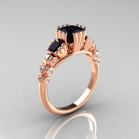 Classic 14K Rose Gold 1.25 CT Princess Black Diamond Three Stone Engagement Ring R171-14KRGDBD-1