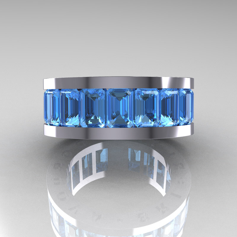 Mens Modern 10k White Gold Blue Topaz Channel Cluster