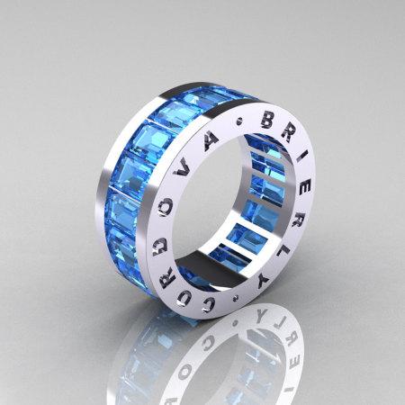 Mens Modern 10K White Gold Blue Topaz Channel Cluster Infinity Wedding Band R174-10WGBT-1