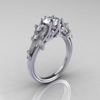 Fantasy Vintage 950 Platinum 1.0 CT Round White Sapphire Diamond Sea Star Engagement Ring R173-PLATDWS-1