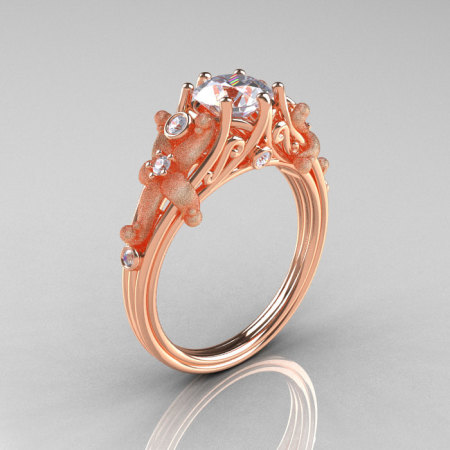 Fantasy Vintage 18K Rose Gold 1.0 CT Round White Sapphire Diamond Sea Star Engagement Ring R173-18KRGDWS-1