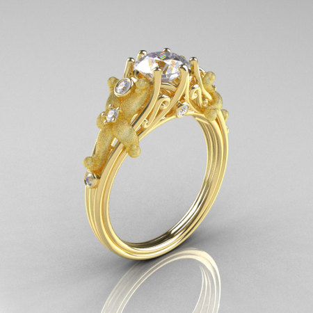 Fantasy Vintage 14K Yellow Gold 1.0 CT Round White Sapphire Diamond Sea Star Engagement Ring R173-14KYGDWS-1