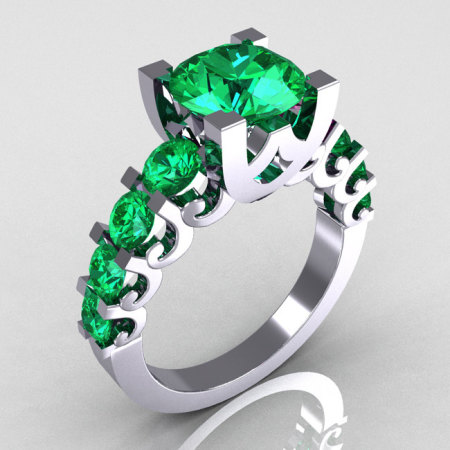 Modern Vintage 14K White Gold 2.0 Carat Emerald Designer Wedding Ring R142-14KWGEMM-1