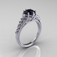 Classic French 14K White Gold 1.0 Carat Black Diamond Lace Ring R175-14WGDBD-1