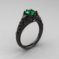 Designer Exclusive Classic 18K Black Gold 1.0 Carat Emerald Diamond Lace Ring R175-18KBGDEM-1