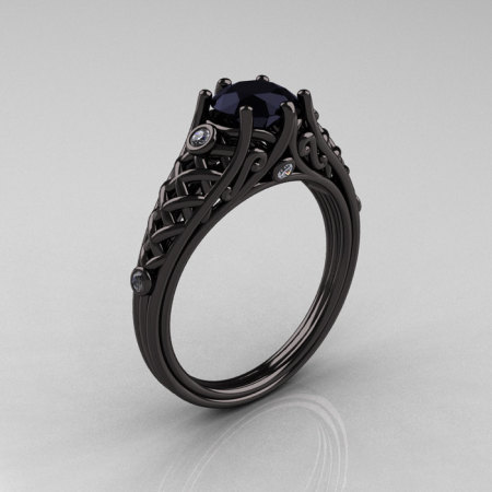 Designer Exclusive Classic 14K Black Gold 1.0 Carat Black Diamond Lace Ring R175-14KBGDBD-1