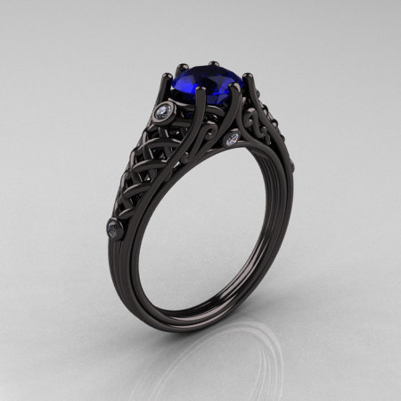 Designer Exclusive Classic 18K Black Gold 1.0 Carat Blue Sapphire Diamond Lace Ring R175-18KBGDBS-1