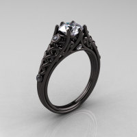 Designer Exclusive Classic 14K Black Gold 1.0 Carat White Sapphire Diamond Lace Ring R175-14KBGDWS-1