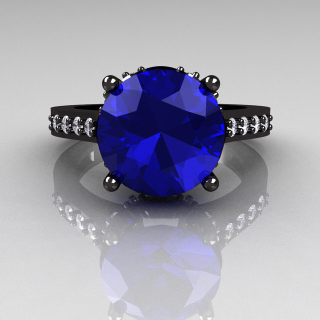 Exclusive Classic 14k Black Gold 3 0 Carat Blue Sapphire