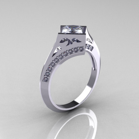 Modern French 14K White Gold .93 CT Princess CZ Diamond Engagement Wedding Ring R176-14WGDCZ-1