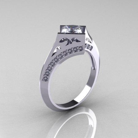 Modern French 14K White Gold .93 CT Princess CZ Diamond Engagement Wedding Ring R176-14WGDCZ-1