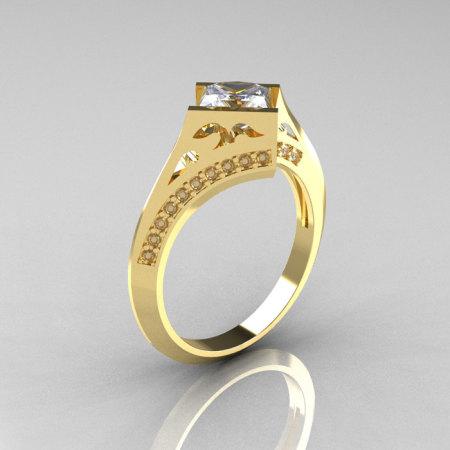 Art Nouveau 14K Yellow Gold .93 CT Princess CZ Diamond Engagement Wedding Ring R176-14YGDCZ-1