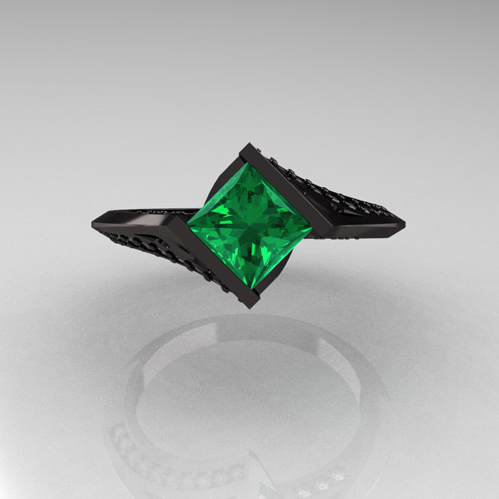 Exclusive French 14K Black Gold 1 23 CT Princess Emerald Diamond