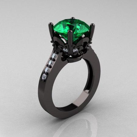 Exclusive Classic 14K Black Gold 3.0 Carat Emerald Diamond Solitaire Wedding Ring R301-14BGDEM-1