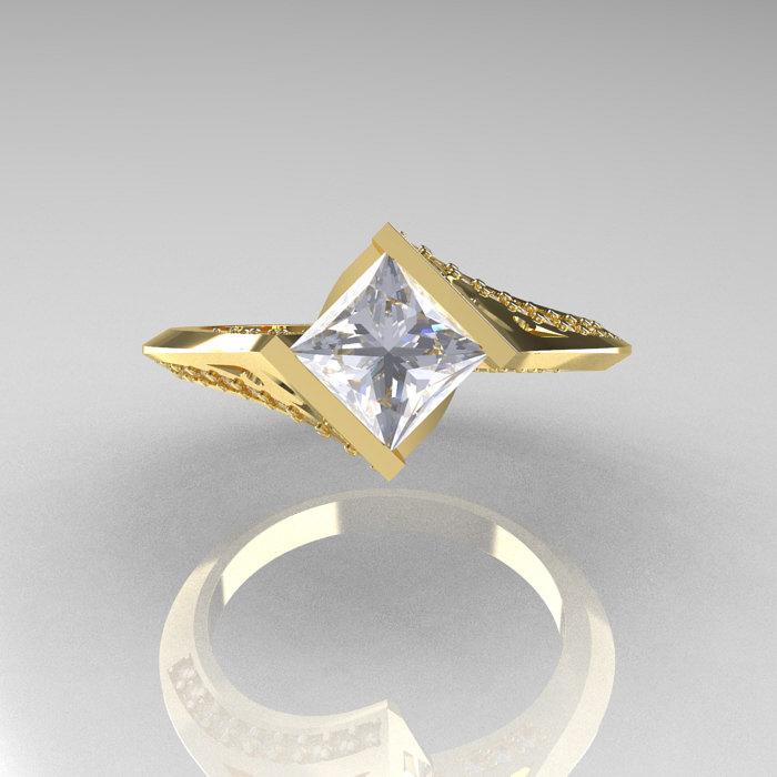 Art Nouveau 14K Yellow Gold 93 CT Princess CZ Diamond Engagement Wedding Rin