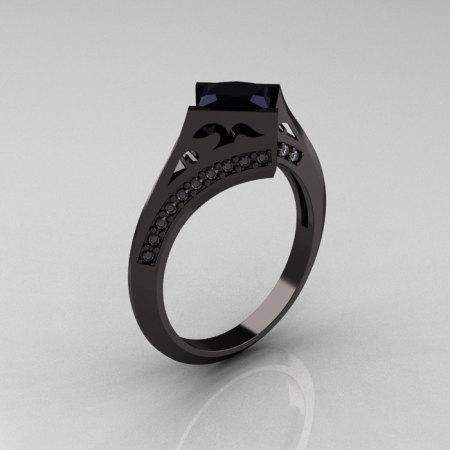 Exclusive French 14K Black Gold 1.23 CT Princess Black Diamond Engagement Ring R176-14BGDBD-1