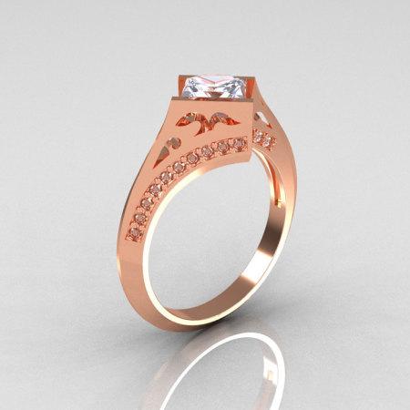 Modern French 10K Rose Gold .93 CT Princess White Sapphire Diamond Engagement Wedding Ring R176-10RGDWS-1
