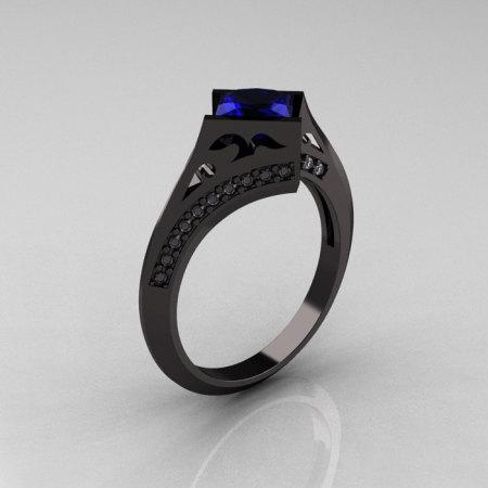 Exclusive French 18K Black Gold 1.23 CT Princess Blue Sapphire Diamond Engagement Ring R176-18BGDBD-1
