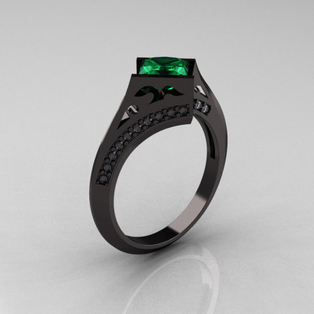 Exclusive French 14K Black Gold 1.23 CT Princess Emerald Diamond Engagement Ring R176-14BGDEM-1