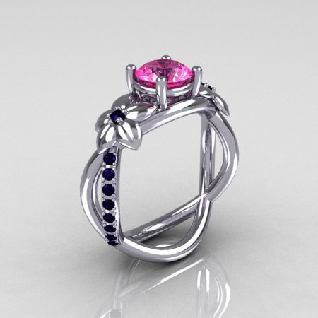Nature Classic 14K White Gold 1.0 CT Dark Blue Pink Sapphire Leaf and Vine Engagement Ring R180-14WGDBPS-1